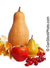bladeren, autum, gele, vruchten, oogsten, groentes