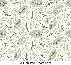 bladeren, behang, seamless, zich verbeelden