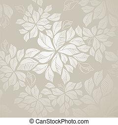 bladeren, behang, seamless, zilver