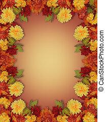 bladeren, bloemen, grens, herfst