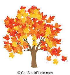 bladeren, boompje, herfst, vector, achtergrond, esdoorn