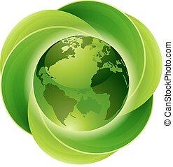 bladeren, concept, cirkel, globe