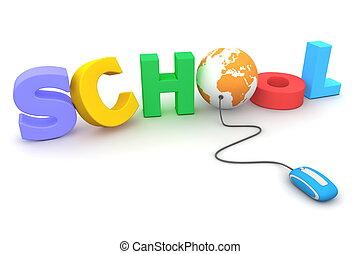 bladeren, de, kleurrijke, dooreengegooide, school, -, sinaasappel, globe