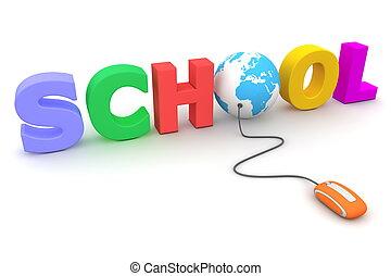 bladeren, de, kleurrijke, school, -, blauwe bol
