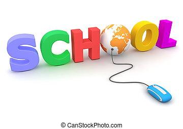 bladeren, de, kleurrijke, school, -, sinaasappel, globe