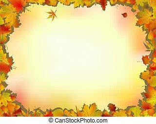 bladeren, eik, frame, esdoorn