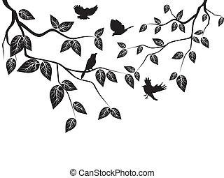 bladeren, en, vogels