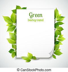bladeren, frame, groene, mal
