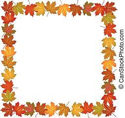 bladeren, frame, herfst