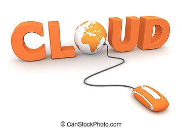 bladeren, globaal, -, sinaasappel, muis, wolk