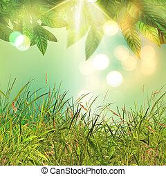 bladeren, gras, achtergrond, 3d