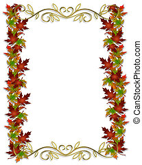 bladeren, grens, herfst, frame, herfst