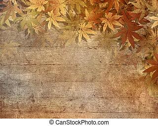 bladeren, grens, herfst