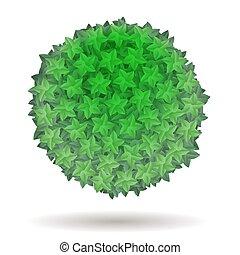bladeren, groene, cirkel, vrijstaand