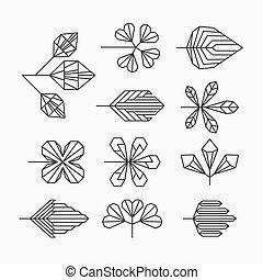 bladeren, hipster, geometrisch