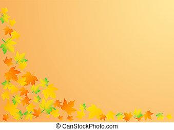 bladeren, illustratie, herfst, vector, achtergrond, sinaasappel