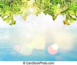 bladeren, lichten, bokeh, groene achtergrond, 3d