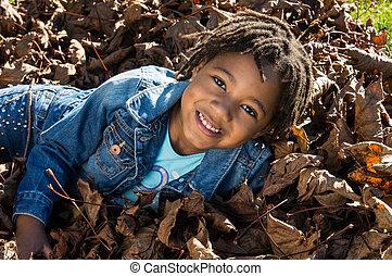 bladeren, meisje