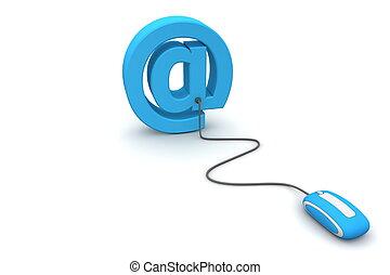 bladeren, op, e-mail, -, blauwe , muis