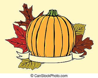 bladeren, pompoen, herfst
