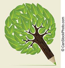 bladeren, potlood, concept, boompje