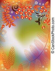 bladeren, seamless, herfst, rowan, achtergrond, besjes