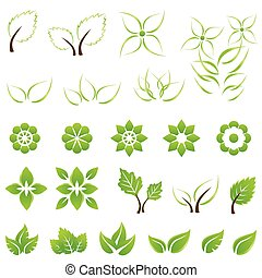 bladeren, set, groene, bloemen