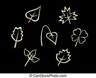bladeren, set, iconen