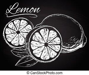 bladeren, vector, citroenen