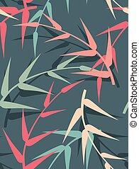 bladeren, vector, seamless, achtergrond