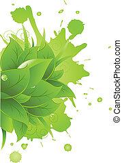 bladeren, vlek, groen gras
