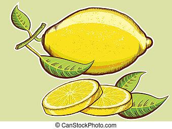 bladeren, vrijstaand, geel groen, citroenen, fris