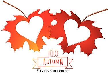 bladeren, vrijstaand, herfst, achtergrond, hartjes, witte
