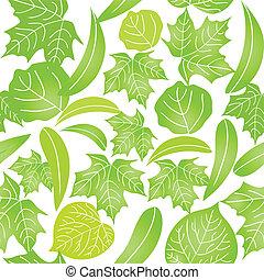 bladeren, witte , groene, seamless, achtergrond