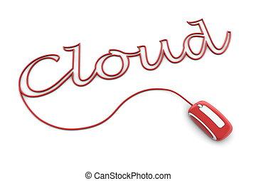 bladeren, wolk, glanzend, kabel, rood