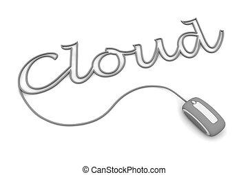 bladeren, wolk, grijze , kabel