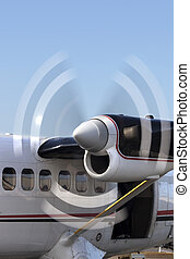 Blades Spinning on Turbo Prop Aircraft Engine - Motion blur...