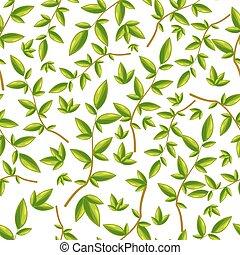 bladpatroon, bladeren, seamless, groene achtergrond, witte