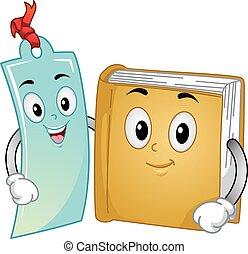 bladwijzer, boek, mascotte