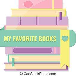 bladwijzer, concept., favoriet, boekjes , mijn, stapel