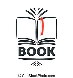 bladwijzer, logo, vector, boek, rood