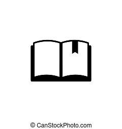 bladwijzer, plat, vector, boek, pictogram