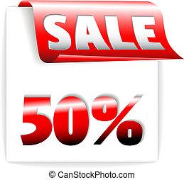 bladwijzer, -, verkoop, /, papier, lint, fris, rood