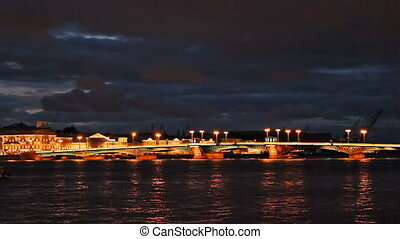 Blagoveshchensky Bridge, night, timelapse