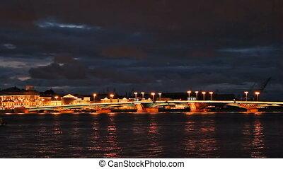 Blagoveshchensky Bridge, night, timelapse