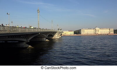 Blagoveshchensky drawbridge. Saint-Petersburg. 4K. -...