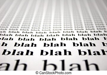The word blah repeated with depth of field blur