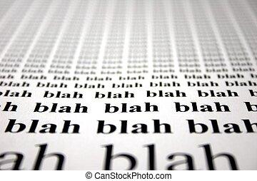 Blah Blah Blah - The word blah repeated with depth of field...