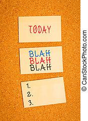 blah., corkboard, oratoria, cartelera, falso, pegatina, vertical, texto, actuación, recordatorio, información, blah, tontería, memorándum, cuadrado, mucho, vacío, escritorio, señal, chismes, foto, hablar, conceptual, paper.