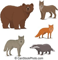 blaireau, animaux, renard, icônes, ours, lynx, forêt, sauvage
